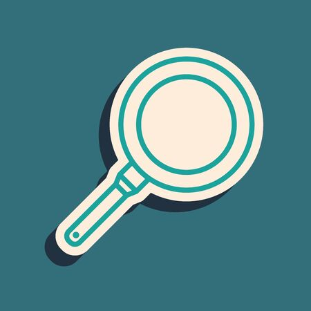 Green Frying pan icon isolated on blue background. Fry or roast food symbol. Long shadow style. Vector Illustration