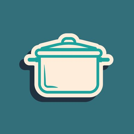 Green Cooking pot icon isolated on blue background. Boil or stew food symbol. Long shadow style. Vector Illustration Illustration