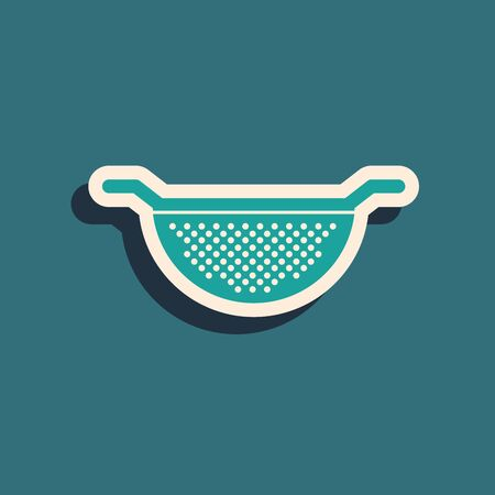 Green Kitchen colander icon isolated on blue background. Cooking utensil. Cutlery sign. Long shadow style. Vector Illustration Vettoriali