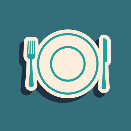 Green Plate, fork and knife icon isolated on blue background. Cutlery symbol. Restaurant sign. Long shadow style. Vector Illustration