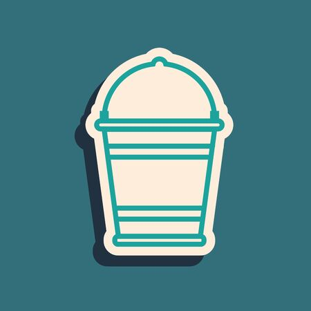 Green Bucket icon isolated on blue background. Long shadow style. Vector Illustration