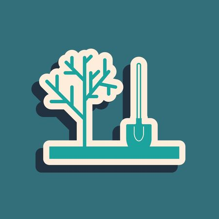 Green Planting a tree in the ground icon isolated on blue background. Gardening, agriculture, caring for environment. Long shadow style. Vector Illustration