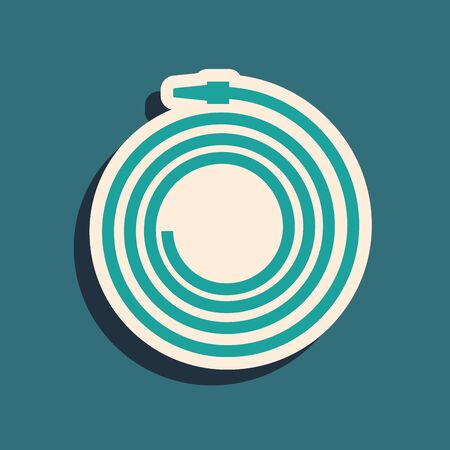 Green Garden hose or fire hose icon isolated on blue background. Spray gun icon. Watering equipment. Long shadow style. Vector Illustration