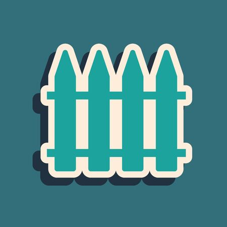 Green Garden fence wooden icon isolated on blue background. Long shadow style. Vector Illustration