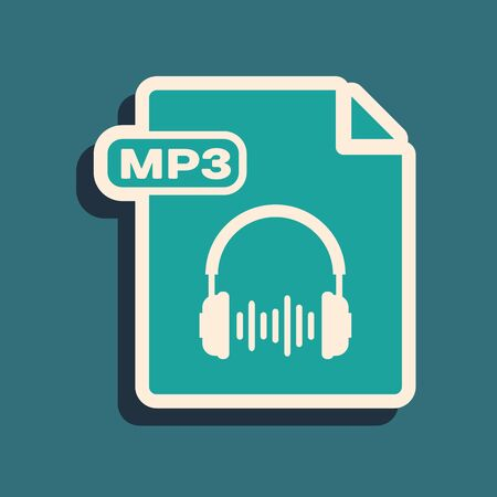 Green MP3 file document. Download mp3 button icon isolated on blue background. Mp3 music format sign. MP3 file symbol. Long shadow style. Vector Illustration