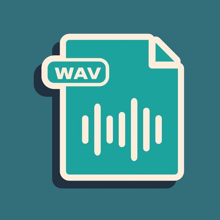 Green WAV file document. Download wav button icon isolated on blue background. WAV waveform audio file format for digital audio riff files. Long shadow style. Vector Illustration