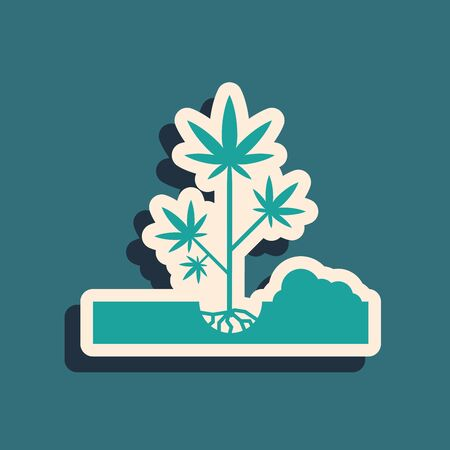 Green Planting marijuana or cannabis plant in the ground icon isolated on blue background. Marijuana growing concept. Hemp symbol. Long shadow style. Vector Illustration