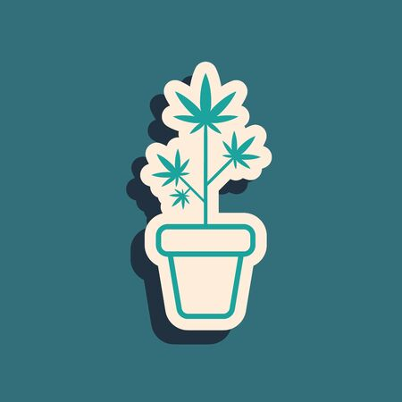 Green Medical marijuana or cannabis plant in pot icon isolated on blue background. Marijuana growing concept. Hemp potted plant. Long shadow style. Vector Illustration