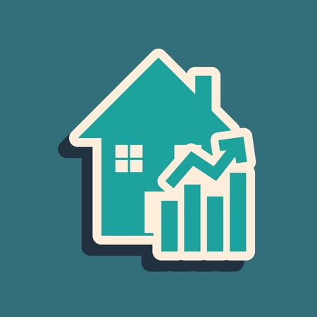 Green Rising cost of housing icon isolated on blue background. Rising price of real estate. Residential graph increases. Long shadow style. Vector Illustration Vectores