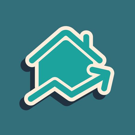 Green Rising cost of housing icon isolated on blue background. Rising price of real estate. Residential graph increases. Long shadow style. Vector Illustration Stock Illustratie
