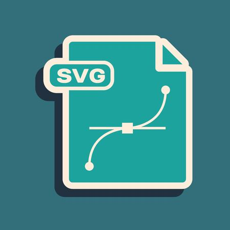 Green SVG file document. Download svg button icon isolated on blue background. SVG file symbol. Long shadow style. Vector Illustration