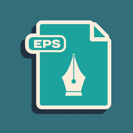 Green EPS file document. Download eps button icon isolated on blue background. EPS file symbol. Long shadow style. Vector Illustration Ilustracja