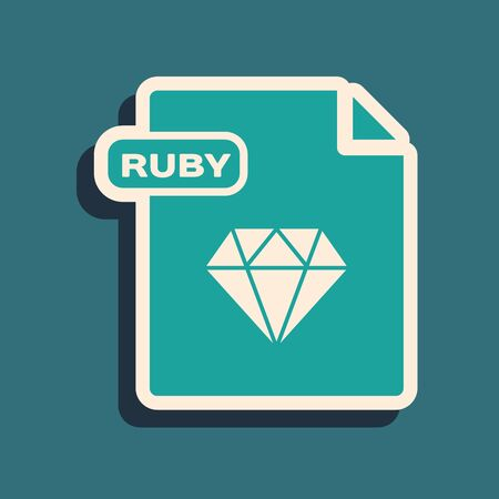 Green RUBY file document. Download ruby button icon isolated on blue background. RUBY file symbol. Long shadow style. Vector Illustration 向量圖像