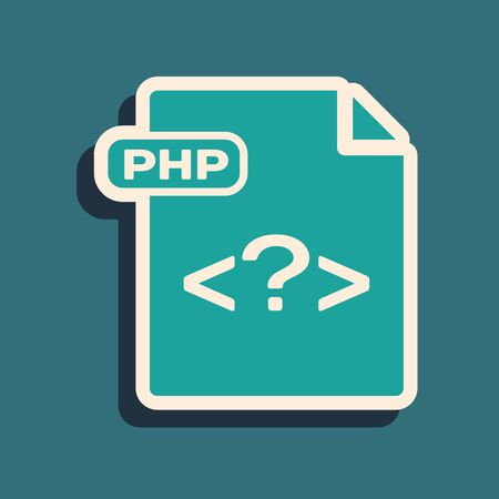 Green PHP file document. Download php button icon isolated on blue background. PHP file symbol. Long shadow style. Vector Illustration 向量圖像