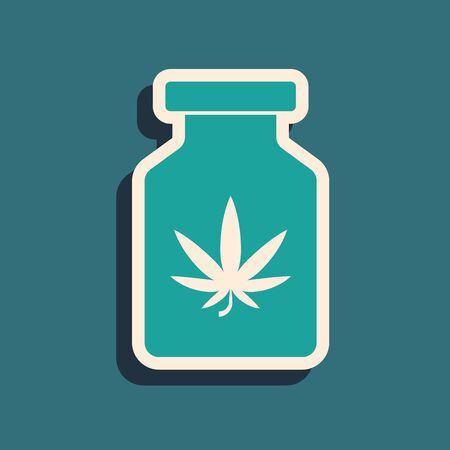Green Medical bottle with marijuana or cannabis leaf icon isolated on blue background. Mock up of cannabis oil extracts in jars. Long shadow style. Vector Illustration Ilustração