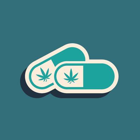 Green Medical pills with marijuana or cannabis leaf icon isolated on blue background. Mock up of cannabis oil extracts in jars. Long shadow style. Vector Illustration Ilustração