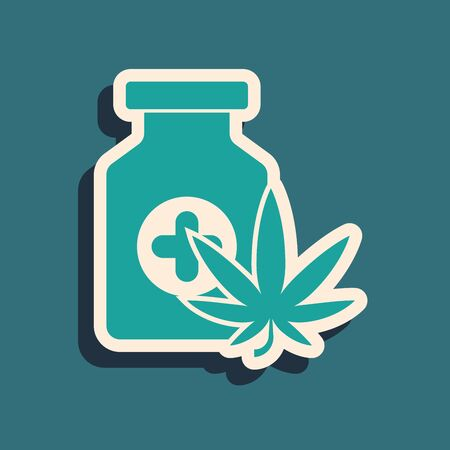 Green Medical bottle with marijuana or cannabis leaf icon isolated on blue background. Mock up of cannabis oil extracts in jars. Long shadow style. Vector Illustration Stock Illustratie