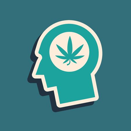 Green Silhouette of male head in profile with marijuana or cannabis leaf icon isolated on blue background. Marijuana legalization. Hemp symbol. Long shadow style. Vector Illustration