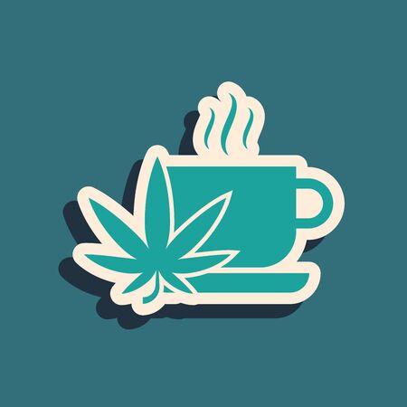 Green Cup tea with marijuana or cannabis leaf icon isolated on blue background. Marijuana legalization. Hemp symbol. Long shadow style. Vector Illustration Illustration