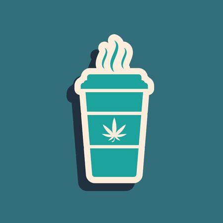 Green Cup coffee with marijuana or cannabis leaf icon isolated on blue background. Marijuana legalization. Hemp symbol. Long shadow style. Vector Illustration Illustration