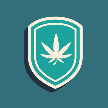 Green Shield and marijuana or cannabis leaf icon isolated on blue background. Marijuana legalization. Hemp symbol. Long shadow style. Vector Illustration Stock Vector - 131625206