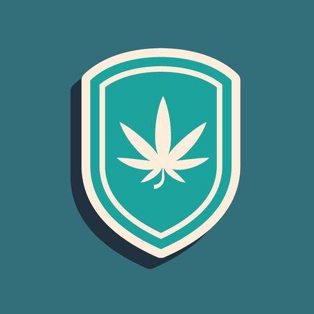 Green Shield and marijuana or cannabis leaf icon isolated on blue background. Marijuana legalization. Hemp symbol. Long shadow style. Vector Illustration