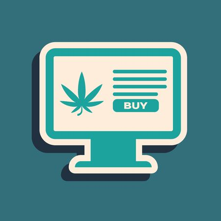 Green Computer monitor and medical marijuana or cannabis leaf icon isolated on blue background. Online buying symbol. Supermarket basket. Long shadow style. Vector Illustration Ilustração