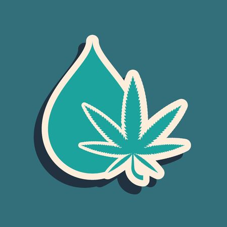 Green Medical marijuana or cannabis leaf olive oil drop icon isolated on blue background. Cannabis extract. Hemp symbol. Long shadow style. Vector Illustration