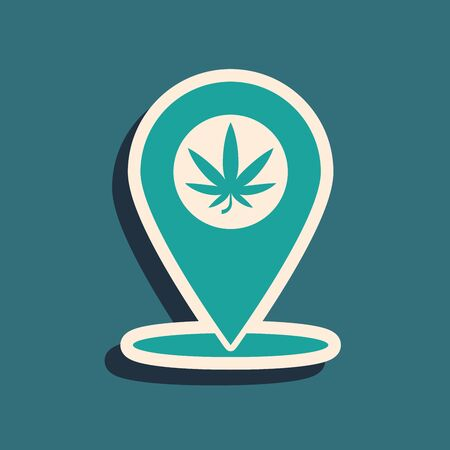 Green Map pointer and marijuana or cannabis leaf icon isolated on blue background. Hemp symbol. Long shadow style. Vector Illustration