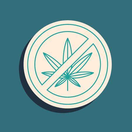 Green Stop marijuana or cannabis leaf icon isolated on blue background. No smoking marijuana. Hemp symbol. Long shadow style. Vector Illustration