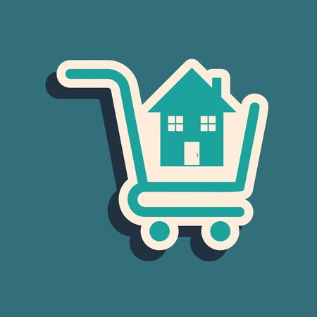 Green Shopping cart with house icon isolated on blue background. Buy house concept. Home loan concept, rent, buying a property. Long shadow style. Vector Illustration