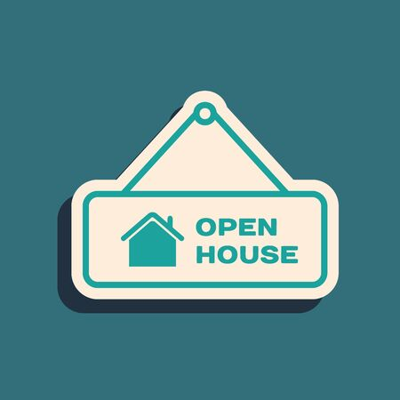 Green Hanging sign with text Open house icon isolated on blue background. Signboard with text Open house. Long shadow style. Vector Illustration