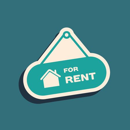 Green Hanging sign with text For Rent icon isolated on blue background. Signboard with text For Rent. Long shadow style. Vector Illustration Çizim