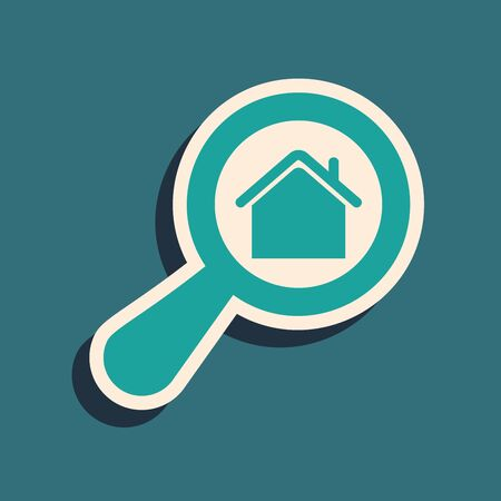 Green Search house icon isolated on blue background. Real estate symbol of a house under magnifying glass. Long shadow style. Vector Illustration
