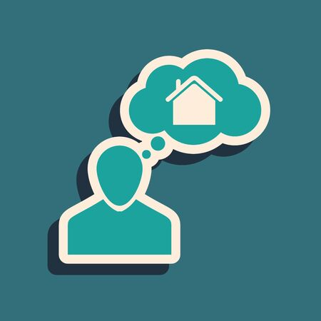 Green Man dreaming about buying a new house icon isolated on blue background. Long shadow style. Vector Illustration