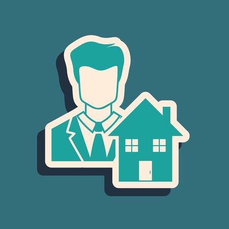 Green Realtor icon isolated on blue background. Buying house. Long shadow style. Vector Illustration