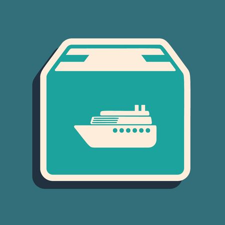 Green Cargo ship with boxes delivery service icon isolated on blue background. Delivery, transportation. Freighter with parcels, boxes, goods. Long shadow style. Vector Illustration