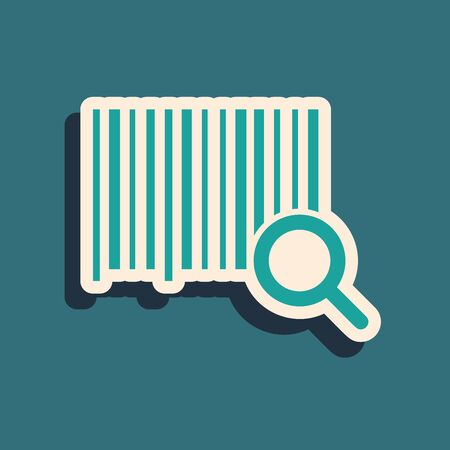 Green Search barcode icon isolated on blue background. Magnifying glass searching barcode. Barcode label sticker. Research barcode. Long shadow style. Vector Illustration