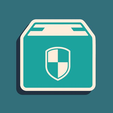 Green Delivery pack security symbol with shield icon isolated on blue background. Delivery insurance. Insured cardboard boxes beyond the shield. Long shadow style. Vector Illustration