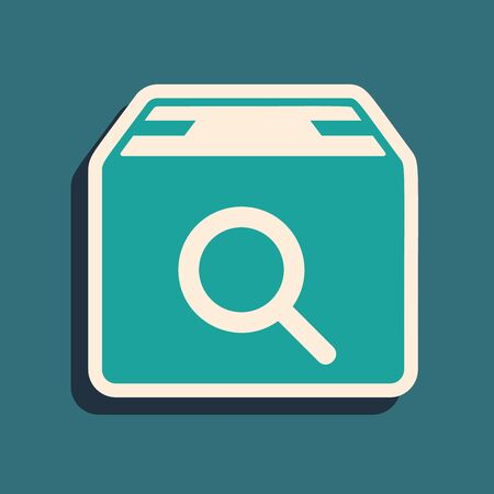 Green Search package icon isolated on blue background. Parcel tracking symbol. Magnifying glass and cardboard box. Logistic and delivery. Long shadow style. Vector Illustration