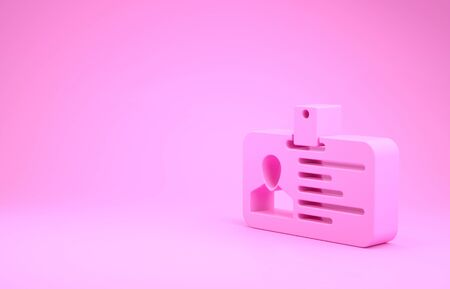 Pink Identification badge icon isolated on pink background. It can be used for presentation, identity of the company, advertising. Minimalism concept. 3d illustration 3D render Stok Fotoğraf