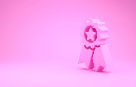Pink Medal with star icon isolated on pink background. Winner achievement sign. Award medal. Minimalism concept. 3d illustration 3D render