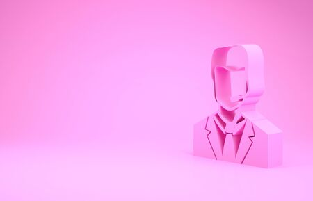 Pink Man with a headset icon isolated on pink background. Support operator in touch. Concept for call center, client support service. Minimalism concept. 3d illustration 3D render Stock fotó
