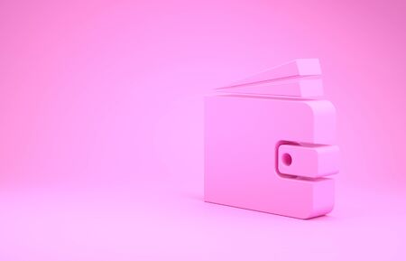 Pink Wallet icon isolated on pink background. Minimalism concept. 3d illustration 3D render