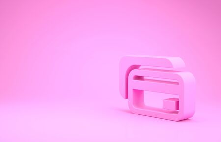 Pink Credit card icon isolated on pink background. Online payment. Cash withdrawal. Financial operations. Shopping sign. Minimalism concept. 3d illustration 3D render