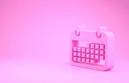Pink Calendar icon isolated on pink background. Minimalism concept. 3d illustration 3D render