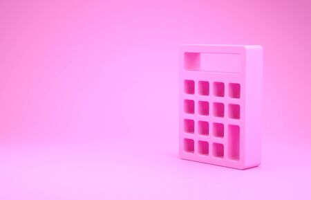 Pink Calculator icon isolated on pink background. Accounting symbol. Business calculations mathematics education and finance. Minimalism concept. 3d illustration 3D render