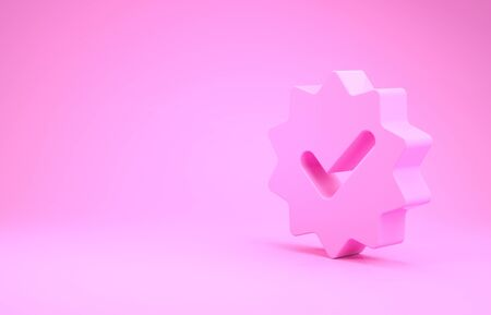 Pink Approved or certified medal with ribbons and check mark icon isolated on pink background. Minimalism concept. 3d illustration 3D render Stok Fotoğraf