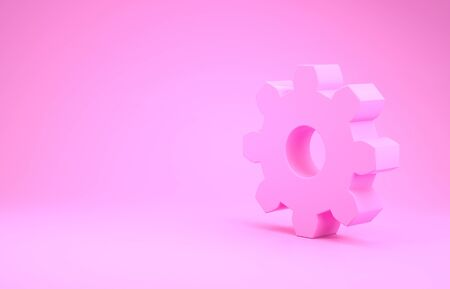 Pink Gear icon isolated on pink background. Cogwheel gear settings sign. Cog symbol. Minimalism concept. 3d illustration 3D render