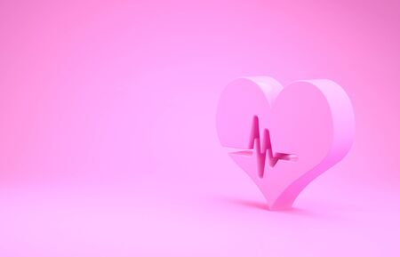 Pink Heart rate icon isolated on pink background. Heartbeat sign. Heart pulse icon. Cardiogram icon. Minimalism concept. 3d illustration 3D render